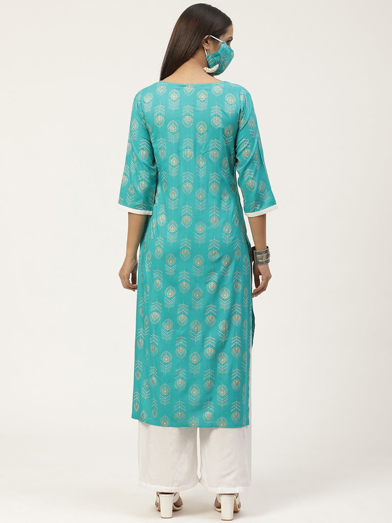 Turquoise Blue Printed Straight Kurta With Mask