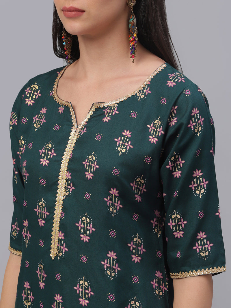 Green Rayon Printed Straight Kurta