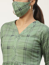 Green Printed Dress With Mask