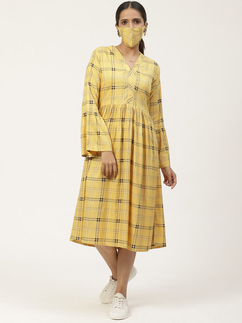 Yellow Printed Dress With Mask