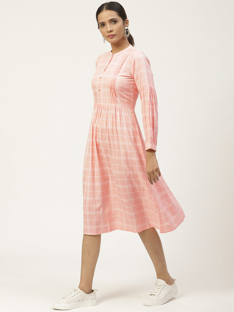 Pink Rayon Printed Dress