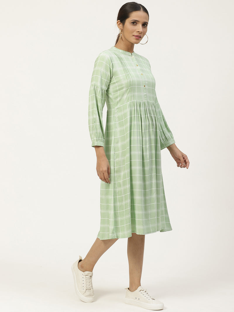 Green Rayon Printed Dress