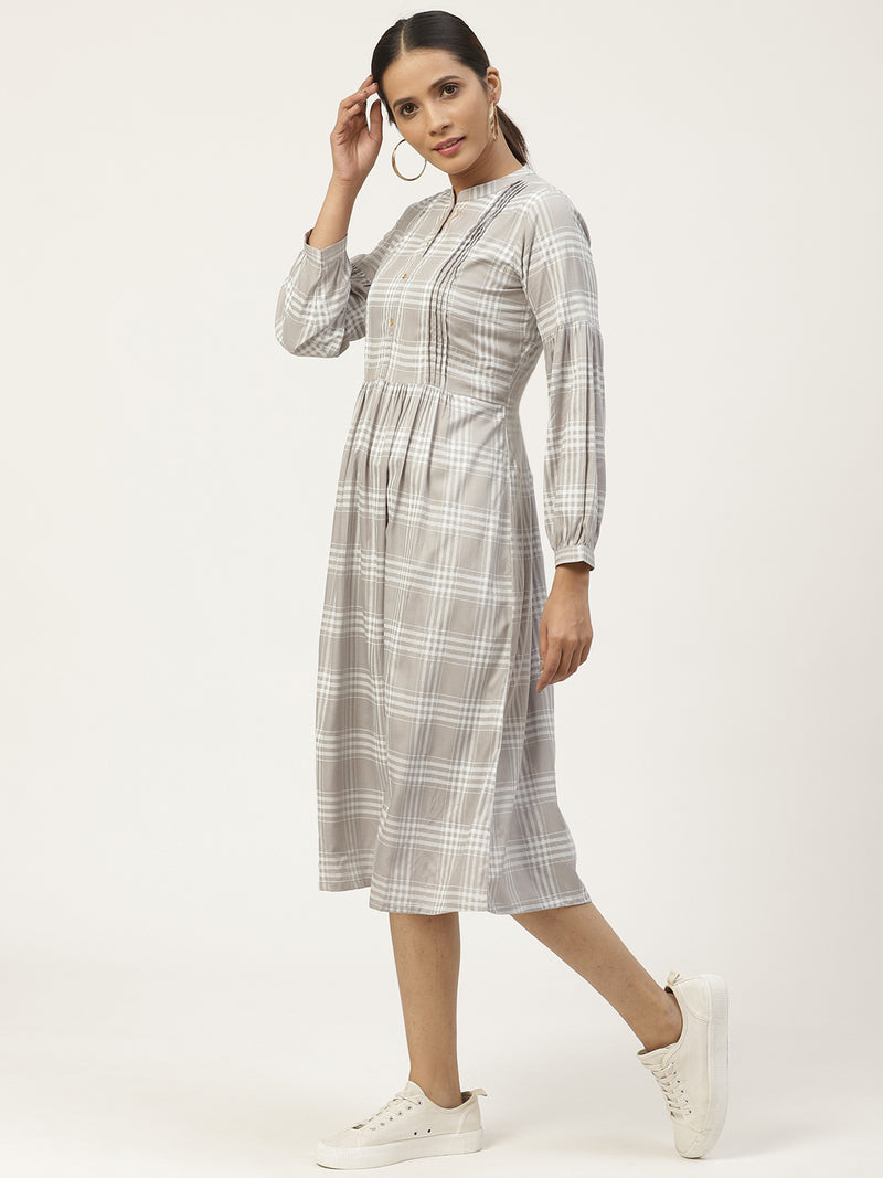 Grey Rayon Printed Dress