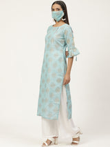 Blue Printed Straight Kurta With Mask