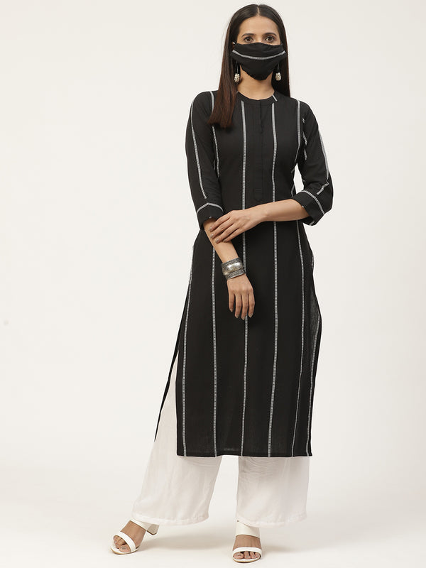 Black Striped Kurta With Mask