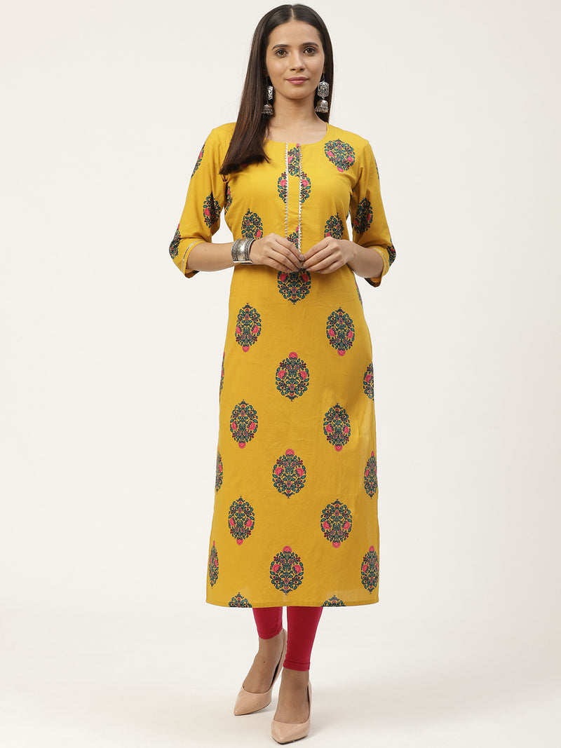 Yellow Printed Straight Kurta