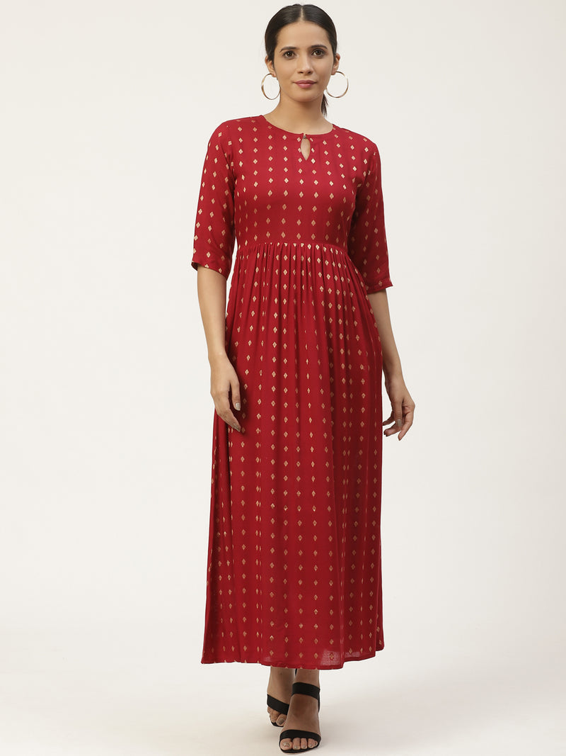 Red Embroidered Maxi Dress