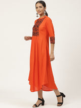 Orange Embroidered Maxi Dress
