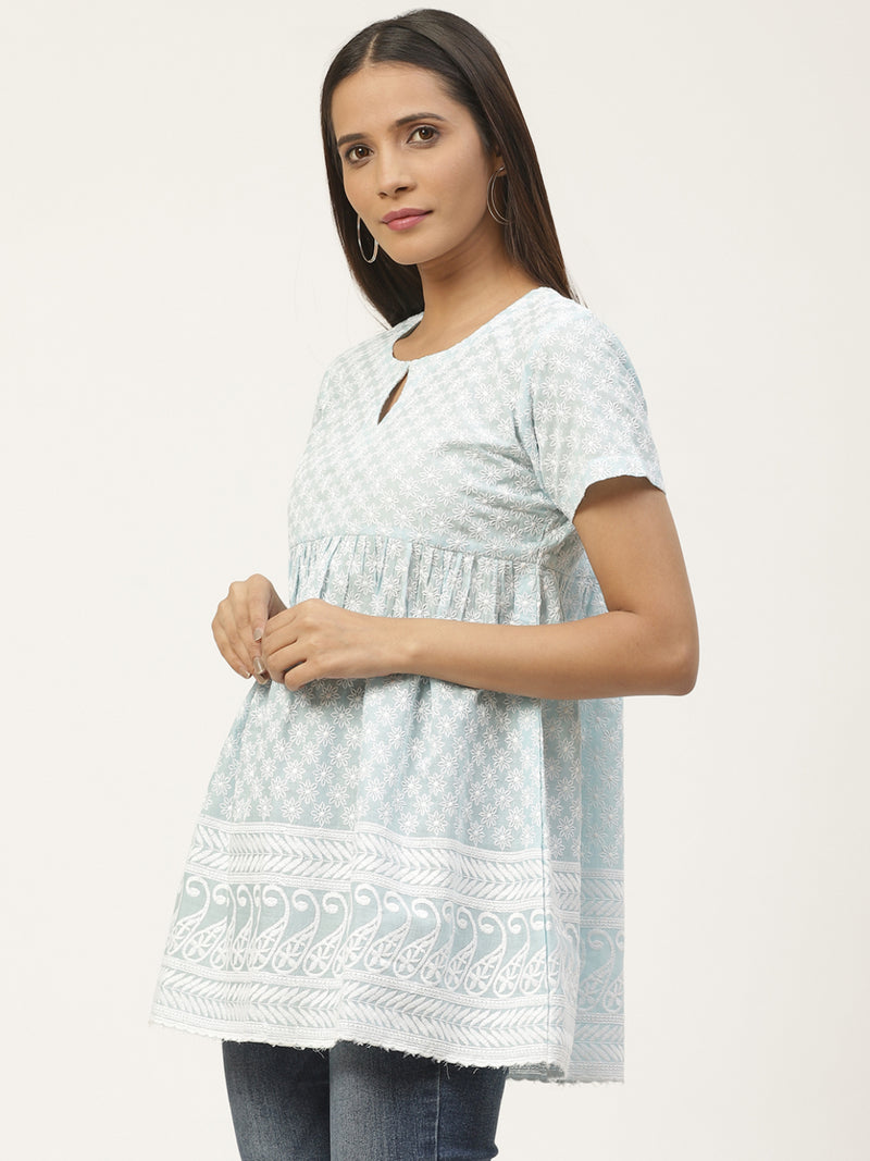 Blue Cotton Embroidered Short Kurti