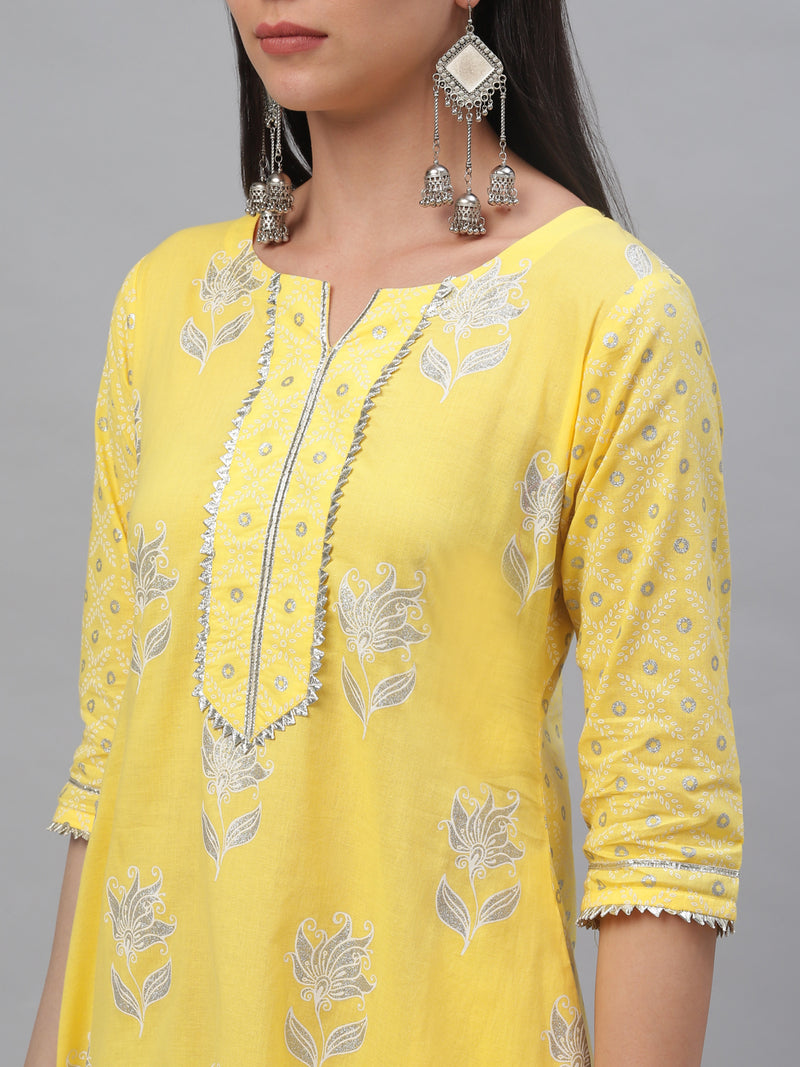 Yellow Cotton Printed A-line Dress