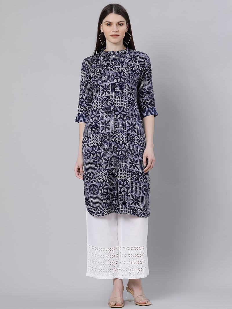 Blue Cotton Printed Pathani Kurta