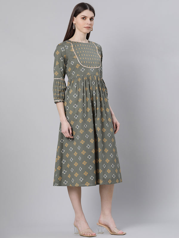 Green Cotton Printed Flared Midi Dress
