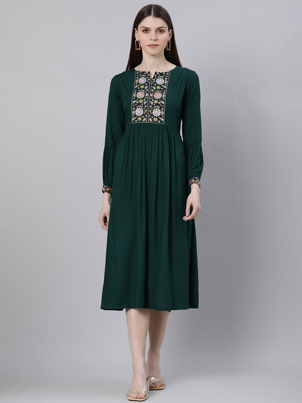 Green Rayon Embroidered Flared Midi Dress