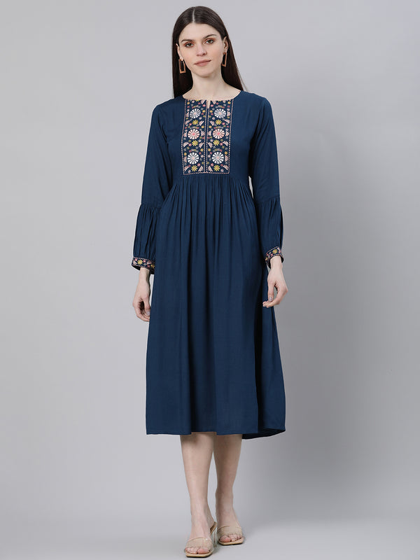 Blue Rayon Embroidered Flared Midi Dress