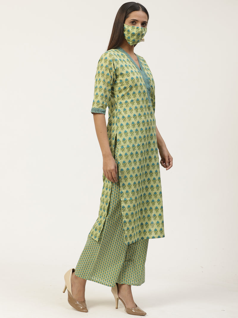 Green Printed Straight Kurta With Palazzo And Mask