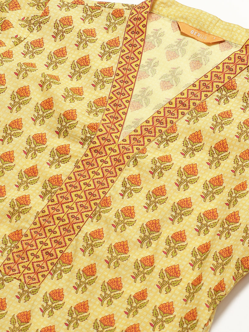 Yellow Printed Straight Kurta With Palazzo And Mask