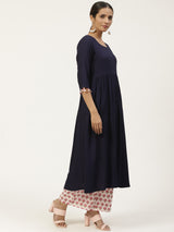 Blue Solid A-line Kurta With Palazzo And Dupatta