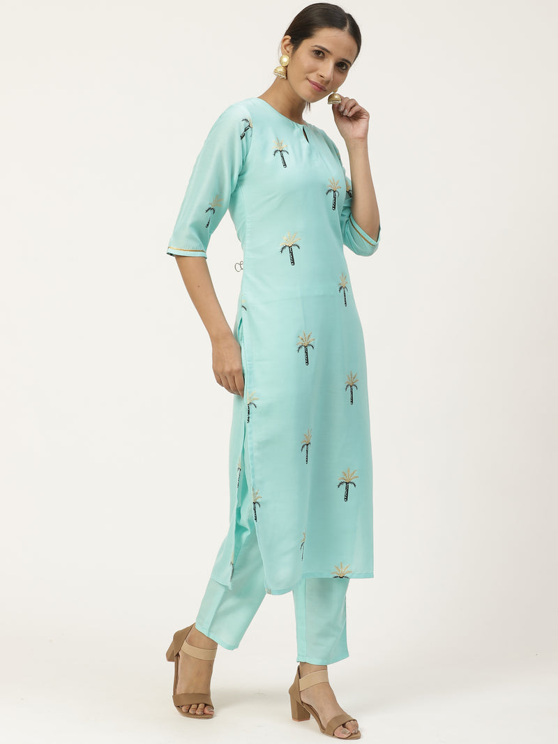 Blue Printed Straight Kurta With Trouser