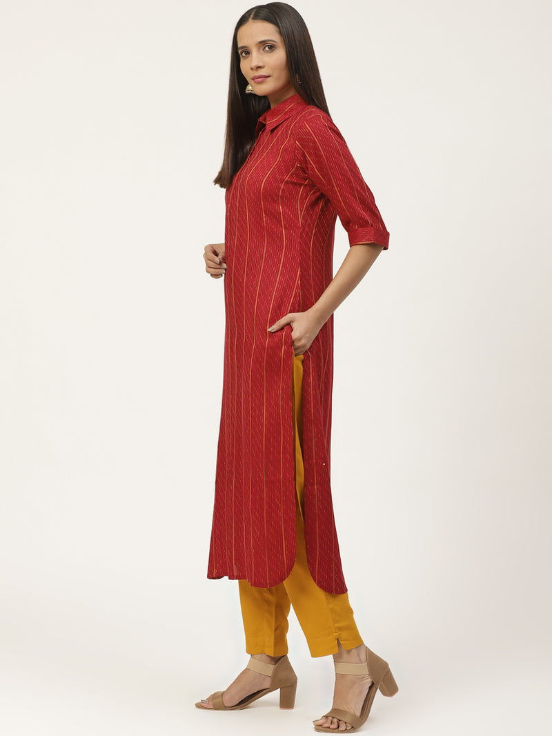 Maroon Woven Design Pathani Kurta With Trouser