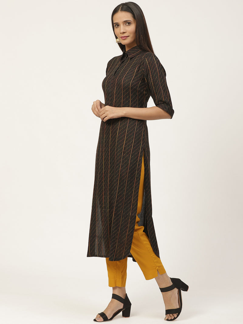 Black Woven Design Pathani Kurta With Trouser