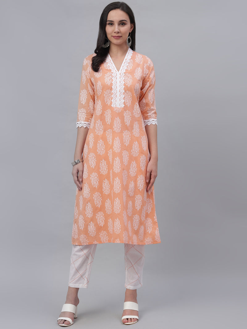 Peach Cotton Printed Kurta With Trouser