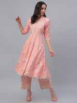 Pink Cotton Printed Anarkali Kurta With Palazzo