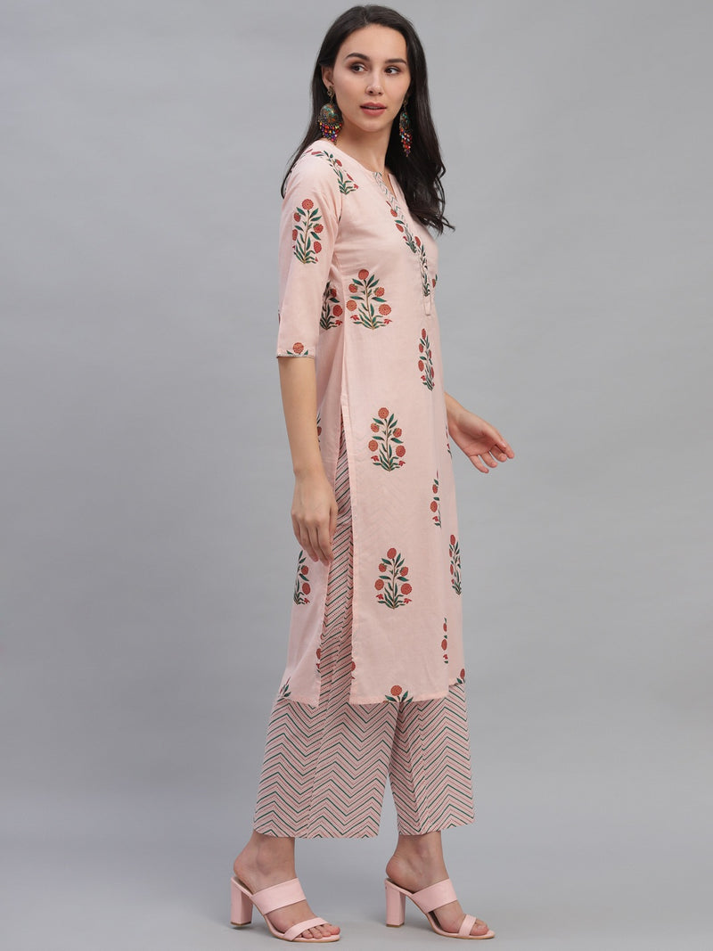 Pink Cotton Printed Kurta With Palazzo And Dupatta