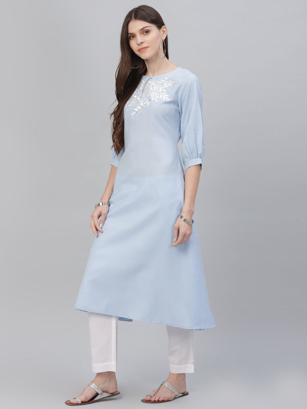 Blue Cotton Embroidered Kurta With White Solid Trouser