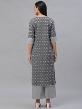 Grey Cotton Printed Kurta With Palazzo