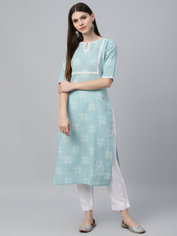 Blue Cotton Printed Kurta With Trouser