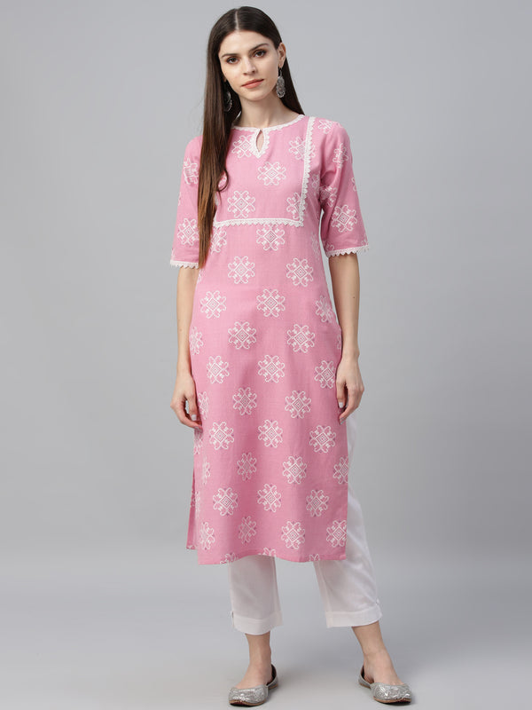 Pink Cotton Printed Kurta With Trouser