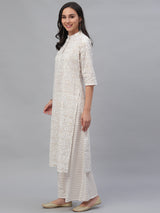 White Cotton Printed Kurta With Palazzo