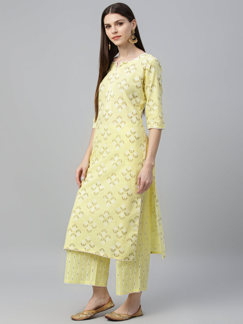 Yellow Cotton Printed Kurta With Palazzo