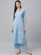 Blue Cotton Printed Kurta With Palazzo
