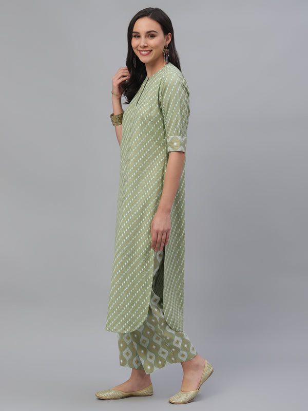 Green Cotton Printed Pathani Kurta With Palazzo