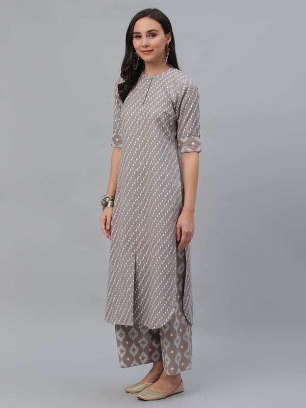 Grey Cotton Printed Pathani Kurta With Palazzo