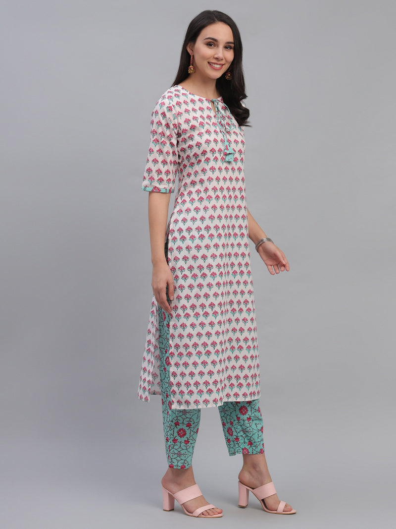 Multi Cotton Printed Kurta With Trouser