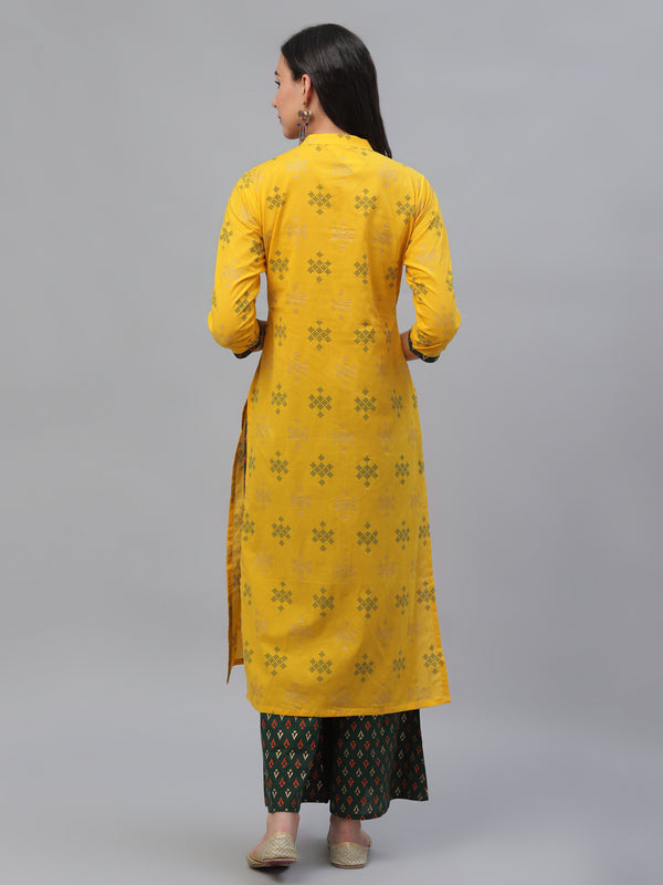 Yellow Cotton Printed Kurta With Green Palazzo