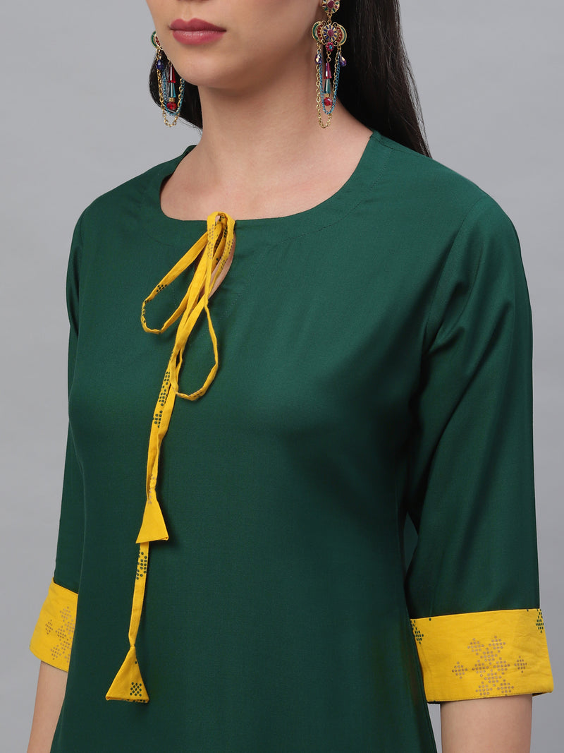 Green Rayon Kurta With Yellow Cotton Palazzo