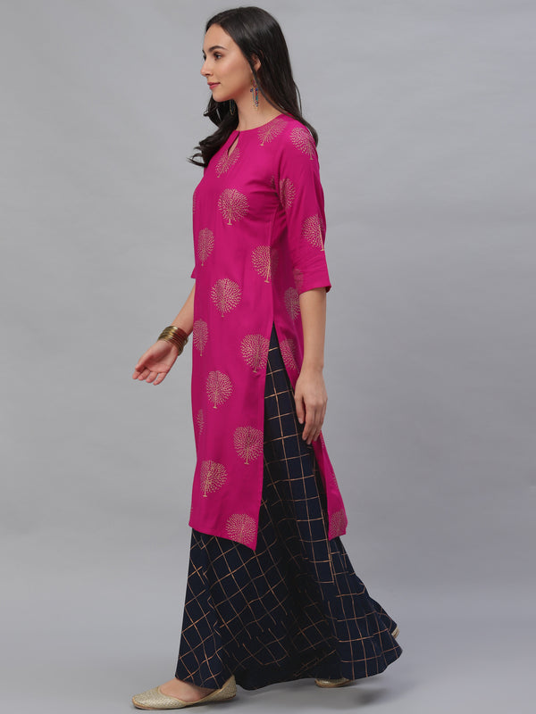 Pink Rayon Printed Kurta With Blue Skirt