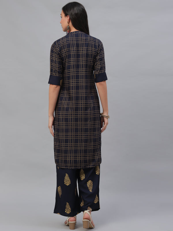 Blue Rayon Printed Pathani Kurta With Palazzo