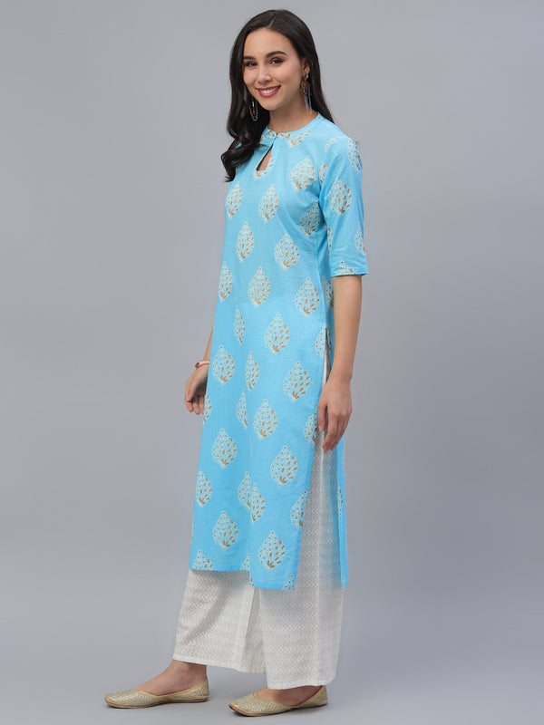 Blue Cotton Printed Kurta With White Palazzo