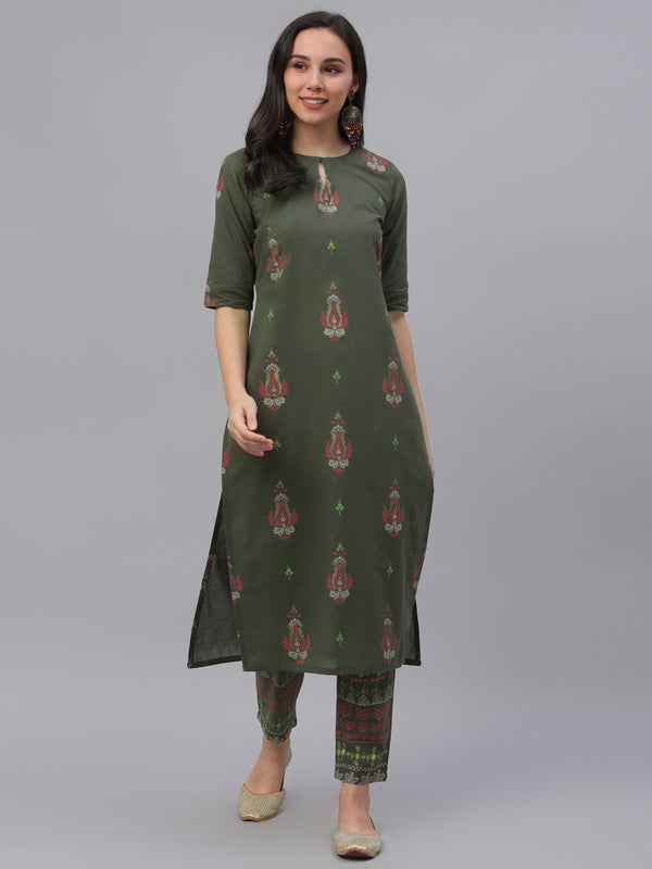 Olive Green Cotton Printed Kurta With Trouser