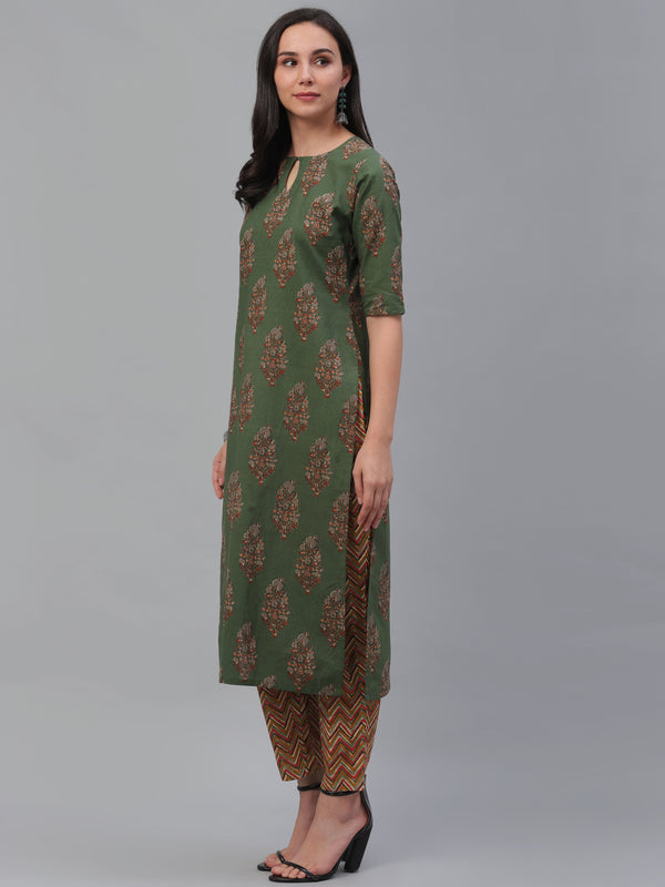 Green Cotton Printed Straight Kurta With Multi Trouser