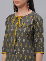 Grey Cotton Printed Kurta With Yellow Solid Palazzo