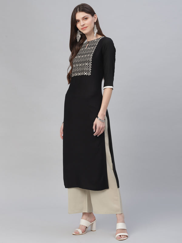 Black Rayon Embroidered Kurta With Grey Palazzo