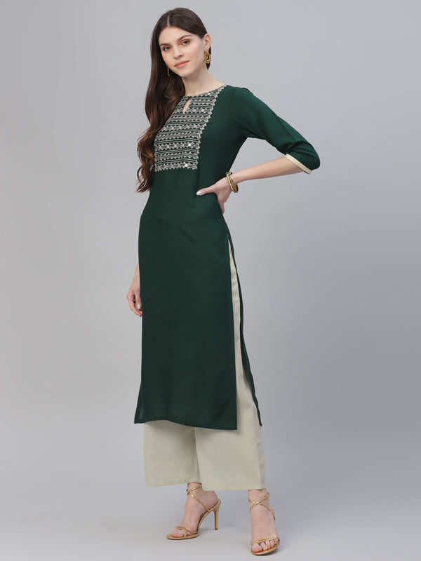 Green Rayon Embroidered Kurta With Grey Palazzo
