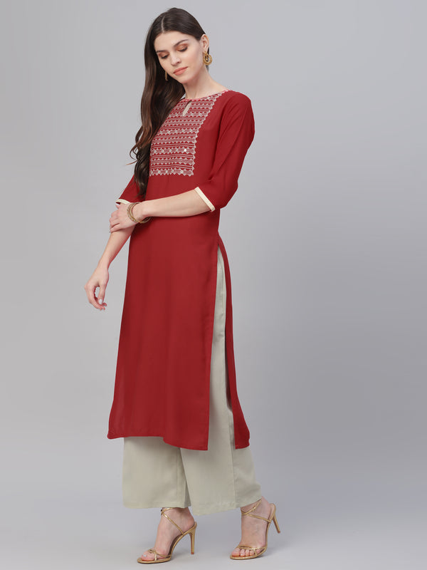 Red Rayon Embroidered Kurta With Grey Palazzo
