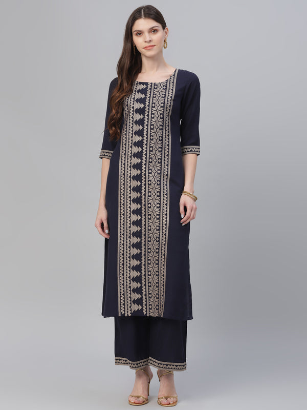 Blue Cotton Embroidered Kurta With Palazzo