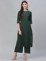 Green Cotton Embroidered Kurta With Solid Palazzo